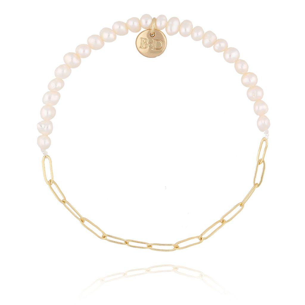 Bransoletka złota z perełkami  i łańcuszkiem BPE0035