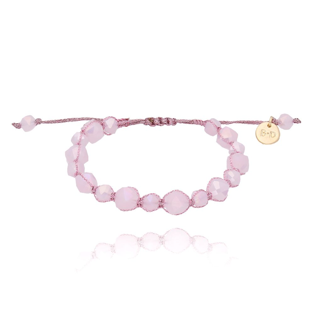 Bransoletka pleciona z liliowymi kryształkami BBL0117