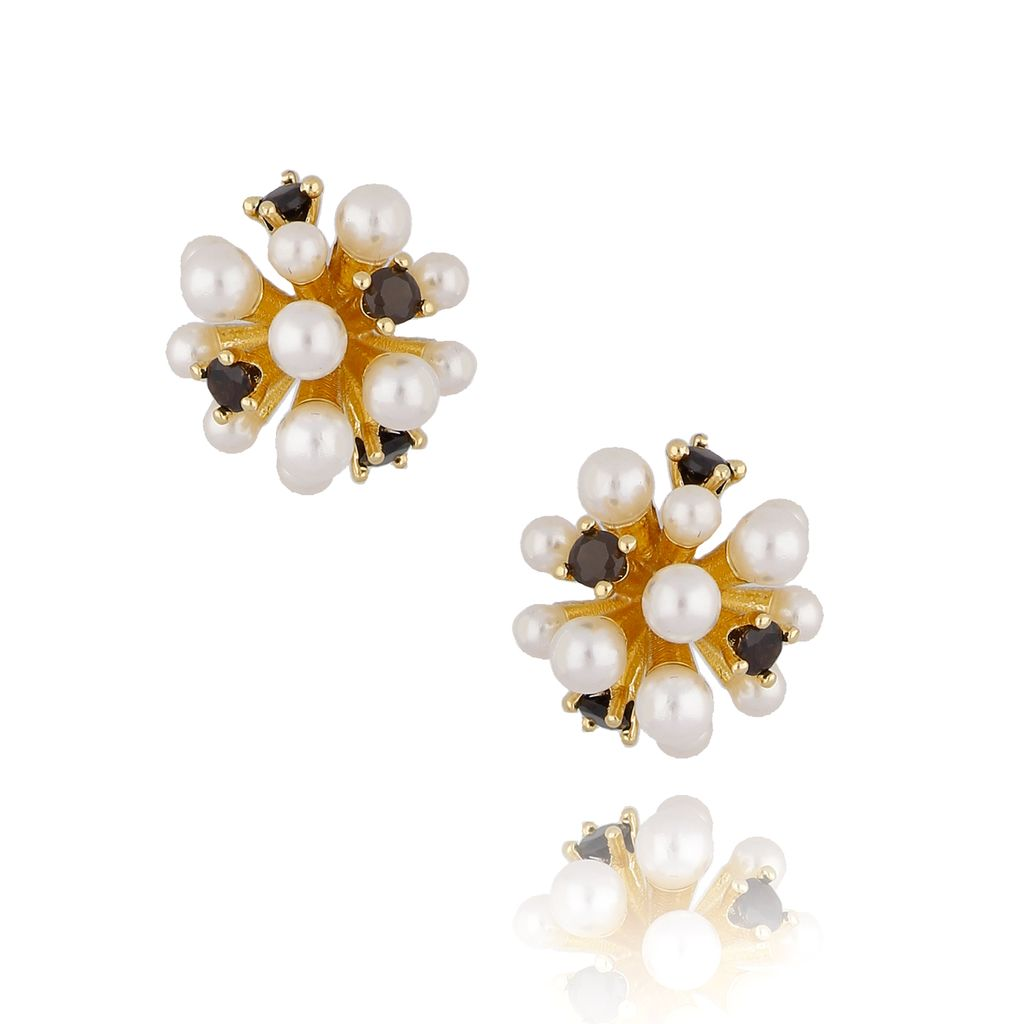 Kolczyki złote z perełkami i kryształkami KPE0037