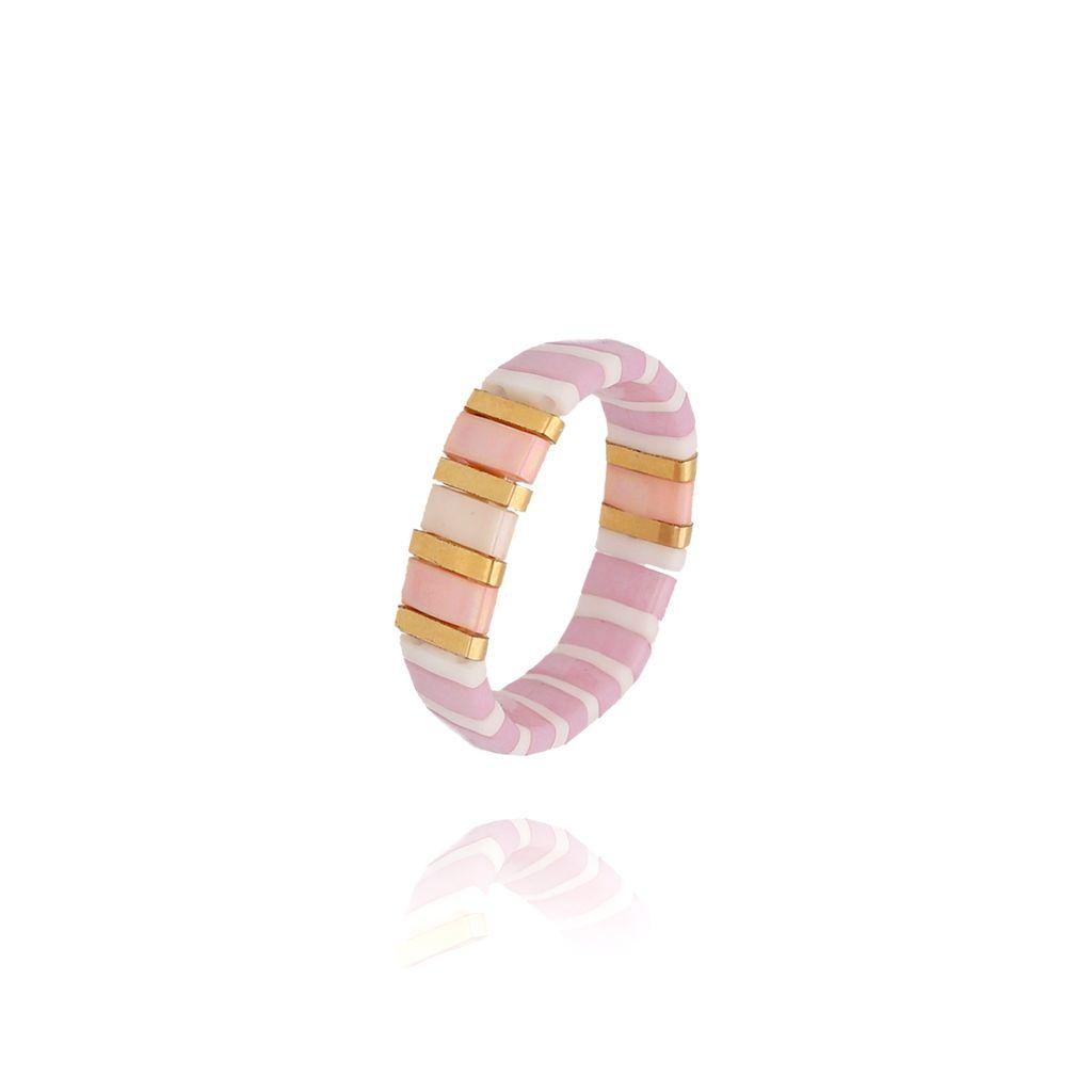Pierścionek elastyczny różowy PLB0020