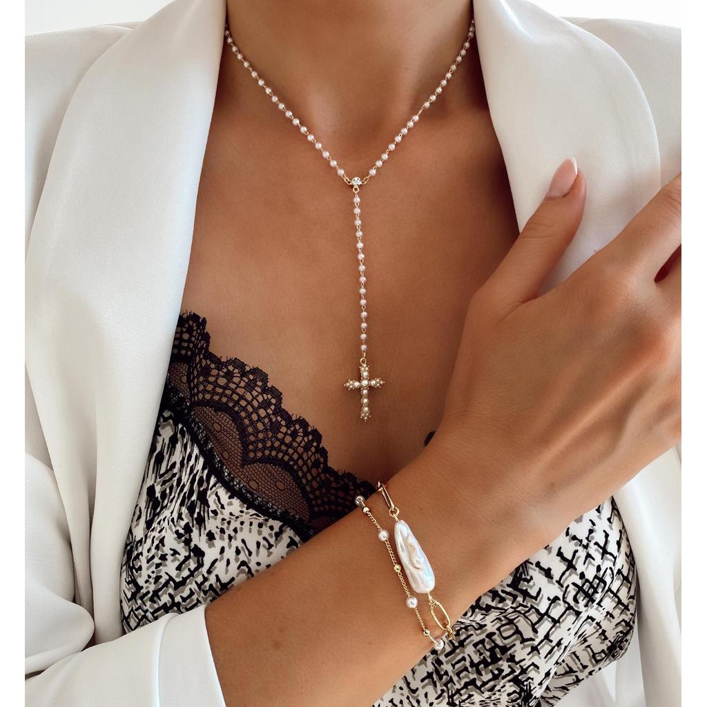 Naszyjnik z krzyżykiem i perełkami  Bright NRG0135