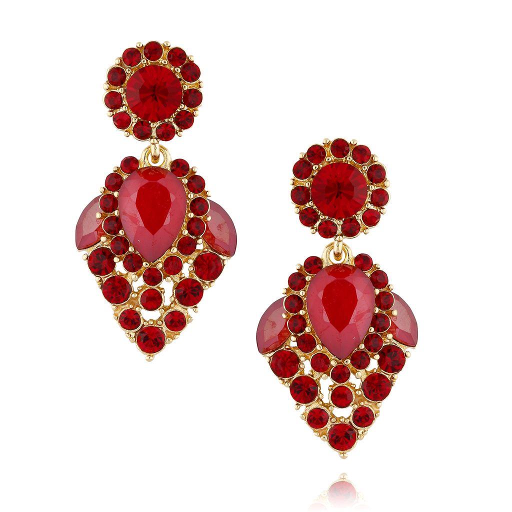Kolczyki kryształowe czerwone KSS0826