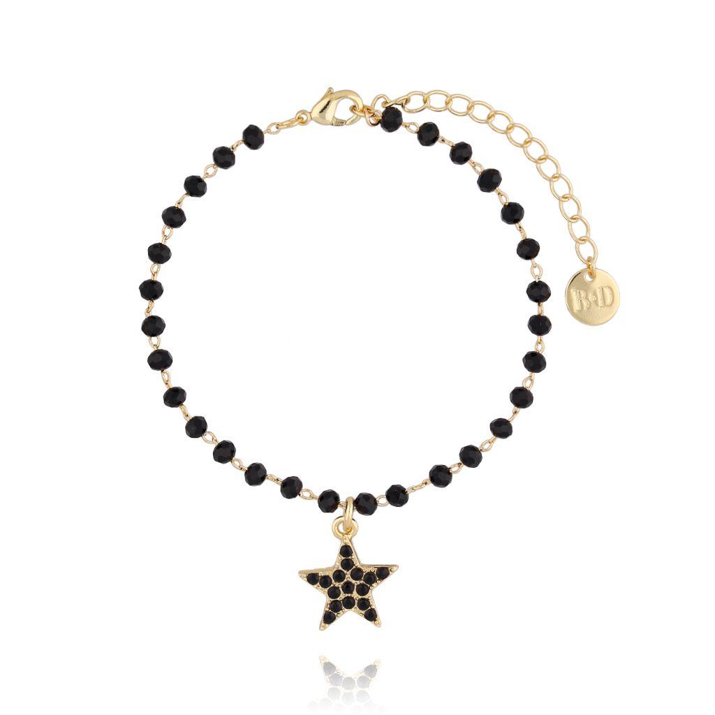 Bransoletka złota z kryształkami i gwiazdką BRG0178