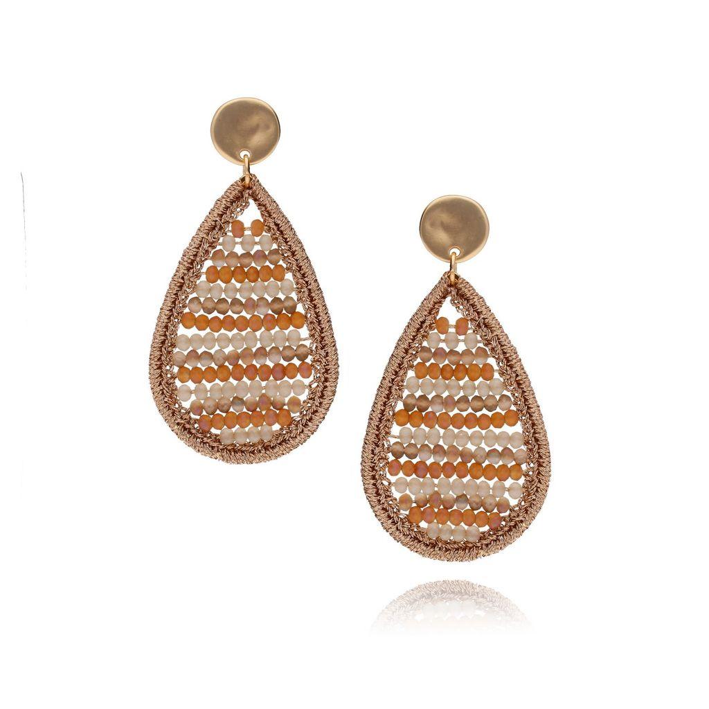 Kolczyki złote łezki z beżowych kryształków i nici KET0138