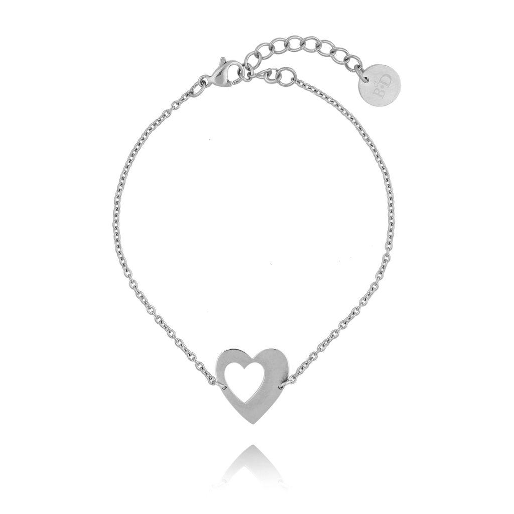 Bransoletka srebrna z sercem ze stali szlachetnej BSA0074