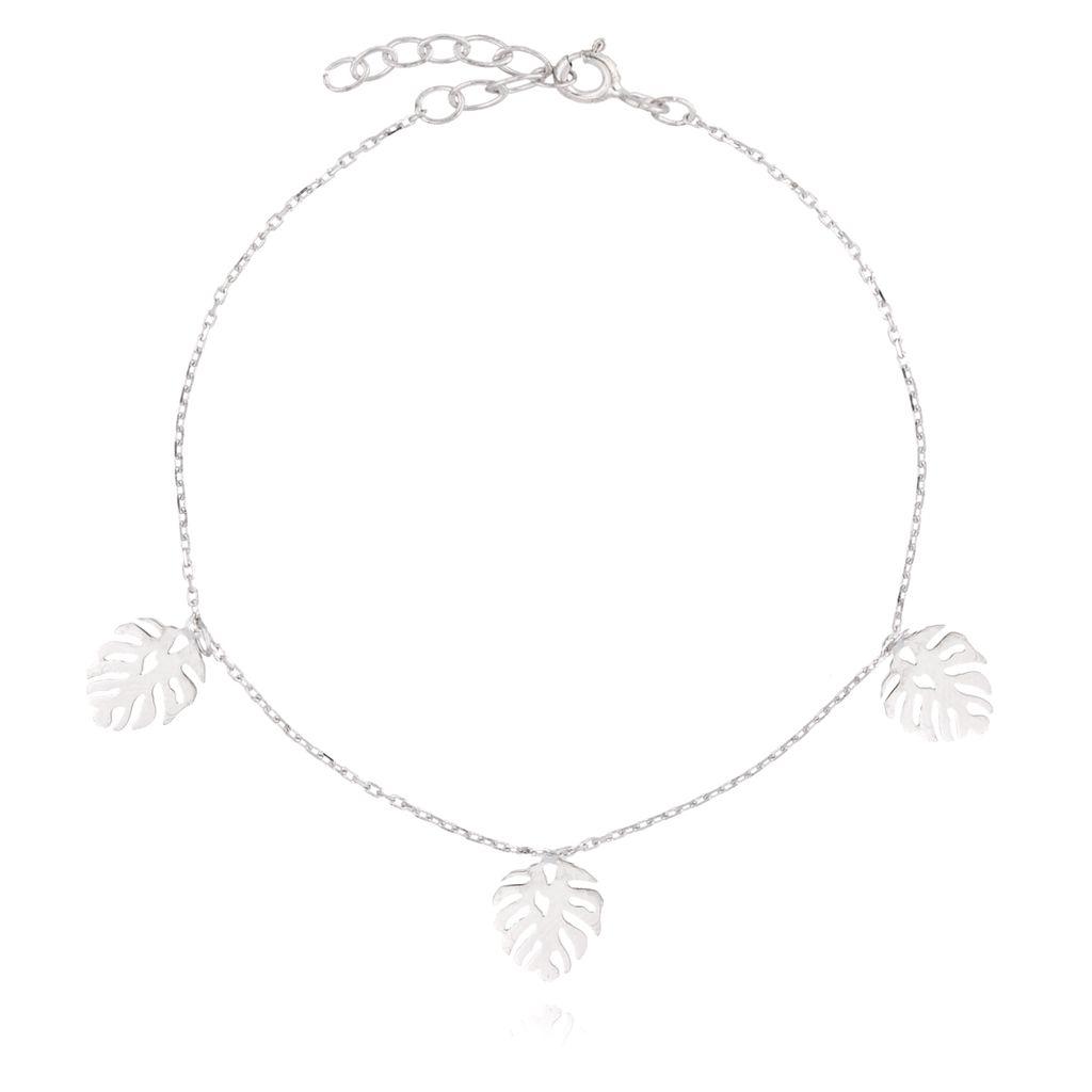 Bransoletka srebrna  z liśćmi monstery  BSE0080