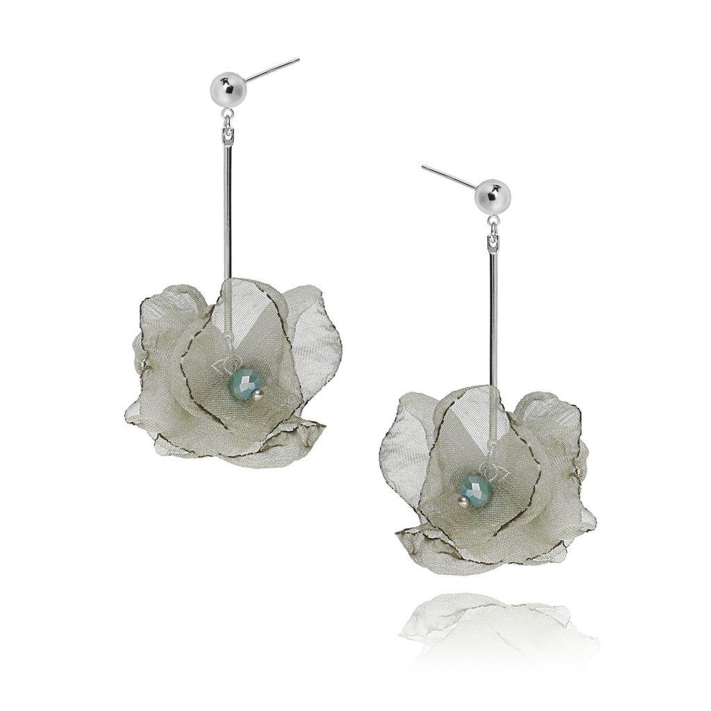 Kolczyki jedwabne kwiaty - oliwkowe KBL0199