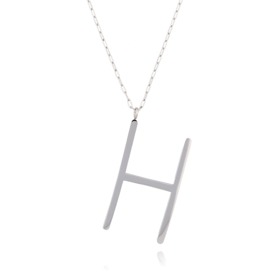 Naszyjnik ze stali szlachetnej srebrny literka H  Alphabet NAT0006