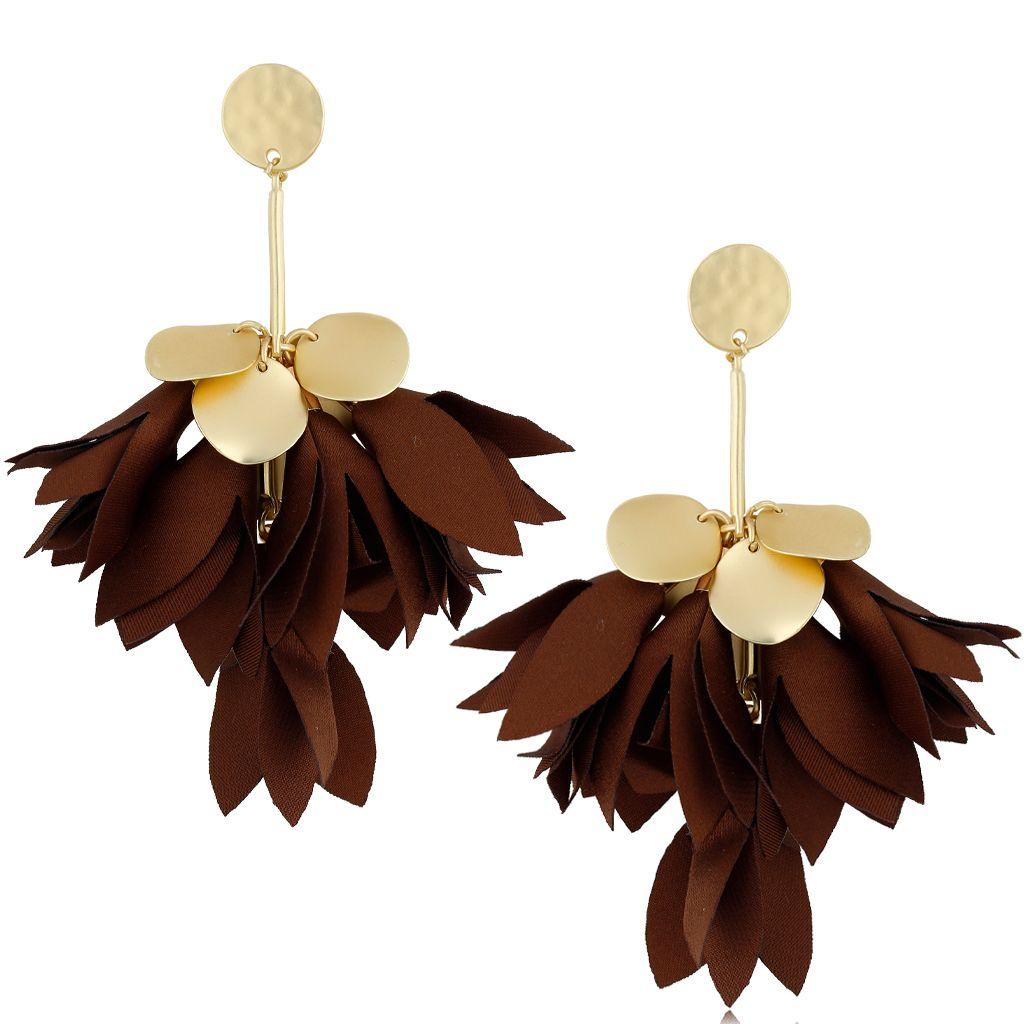 Kolczyki satynowe kwiaty brązowe KBL0522