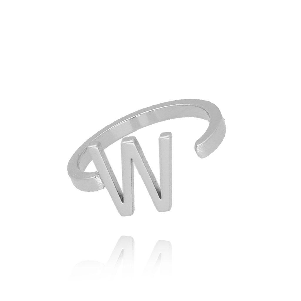 Pierścionek srebrny literka W PAT0029