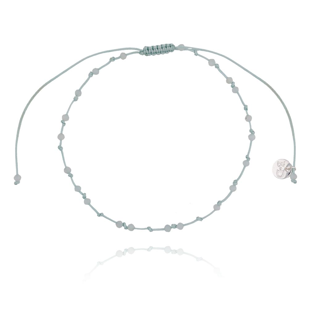 Bransoletka ze sznurkiem z supełkami zielona pastelowa BSC0772