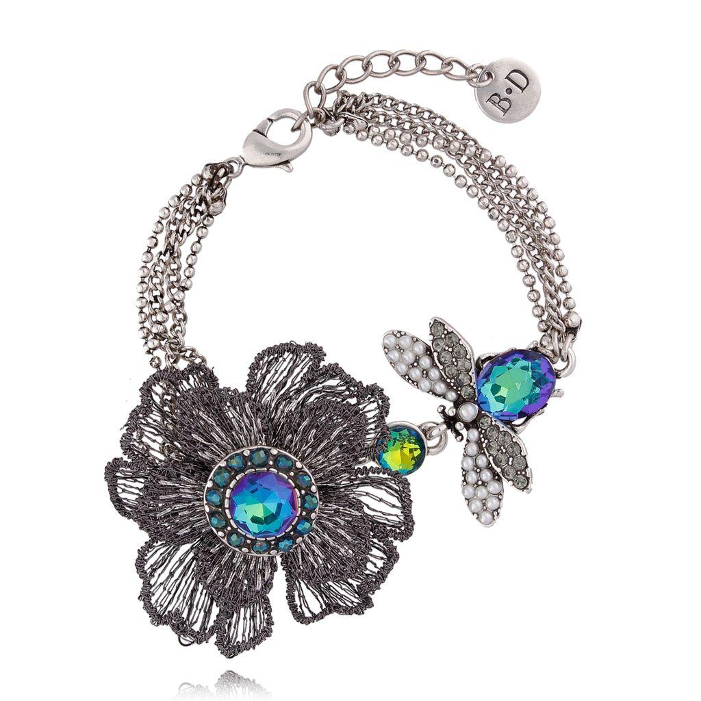 Bransoletka srebrna  z kwiatem i owadem BMI0038