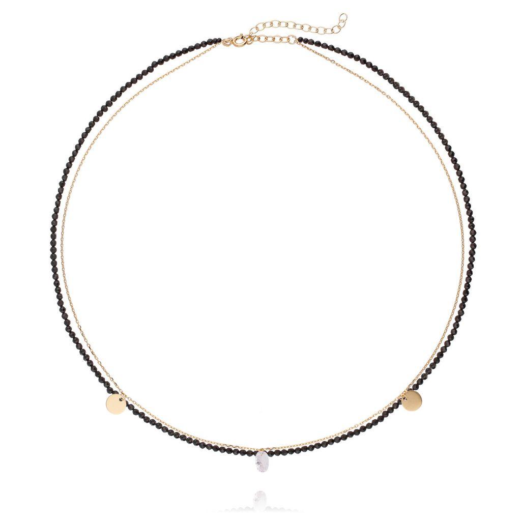 Naszyjnik srebrny ze szklanymi kryształkami pozłacany NSE0043