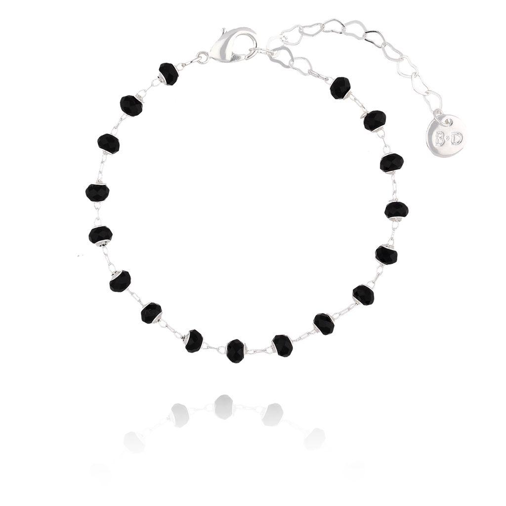 Bransoletka  srebrna z czarnymi kryształkami  BOA0008