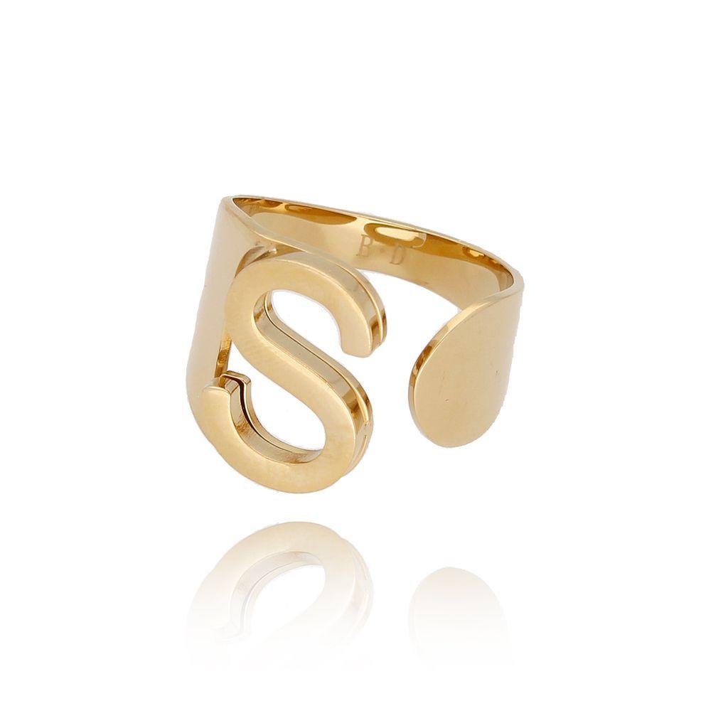 Pierścionek złoty ze stali szlachetnej z literką S PSA0072