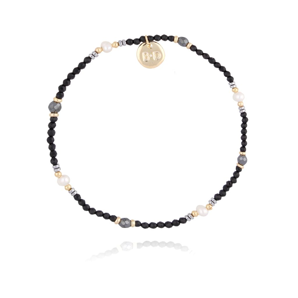 Bransoletka z onyksem i perłami BTW0218