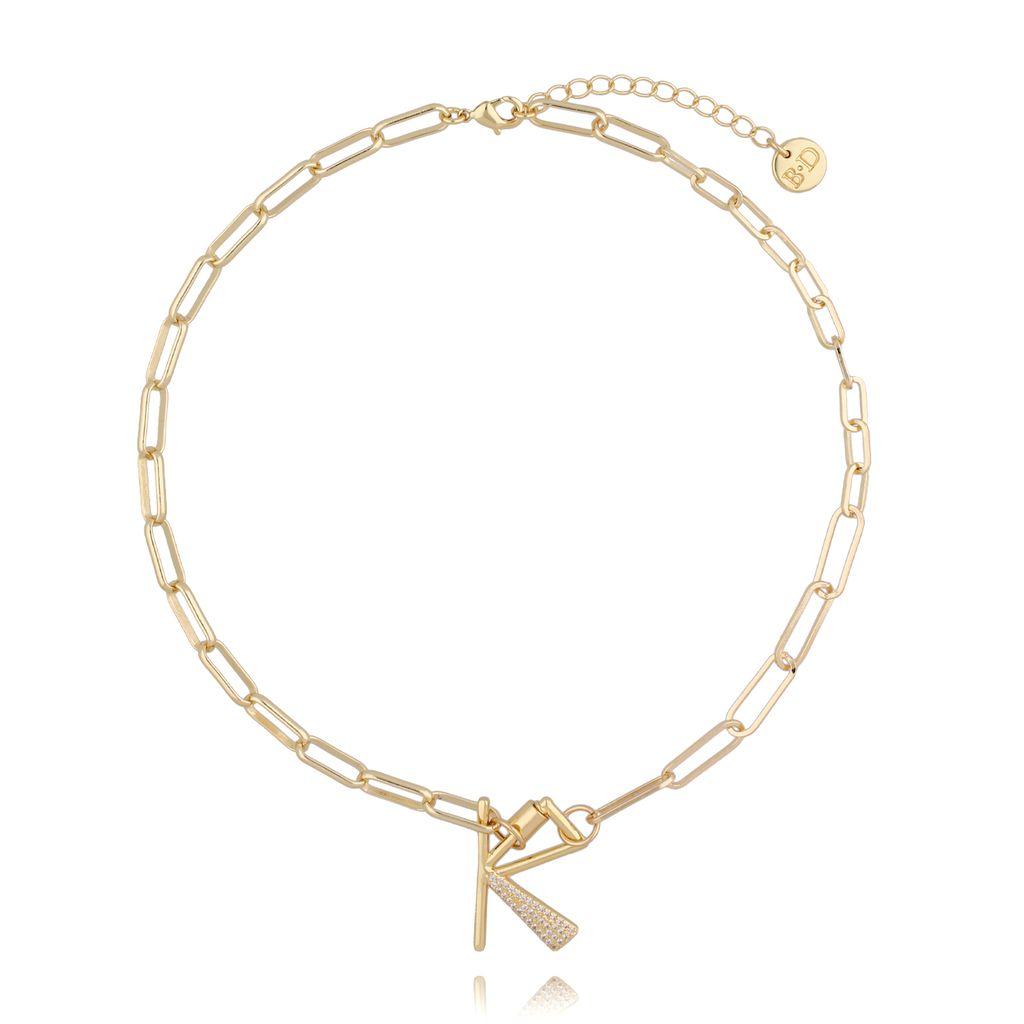 Naszyjnik złoty łańcuch z literą K NSL0013