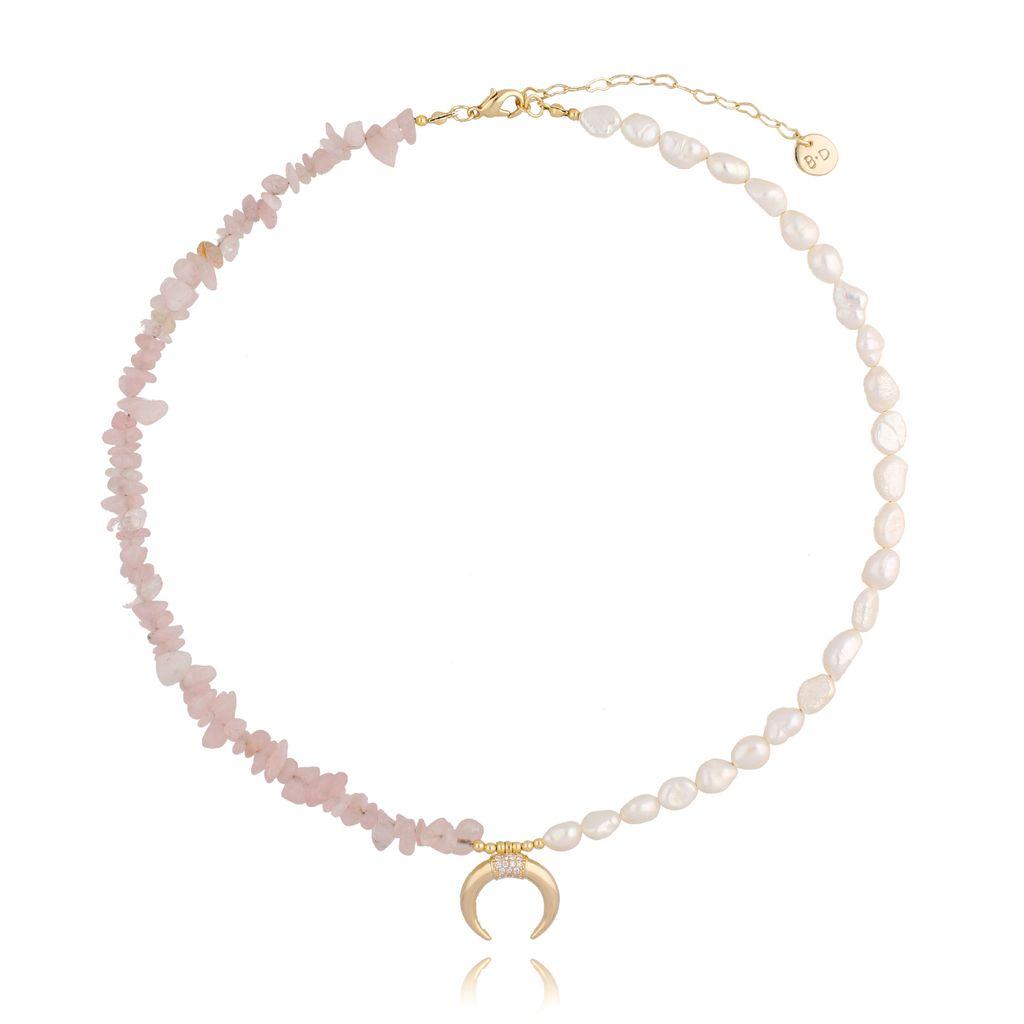 Naszyjnik z kwarcem różowym i perłami NPA0239