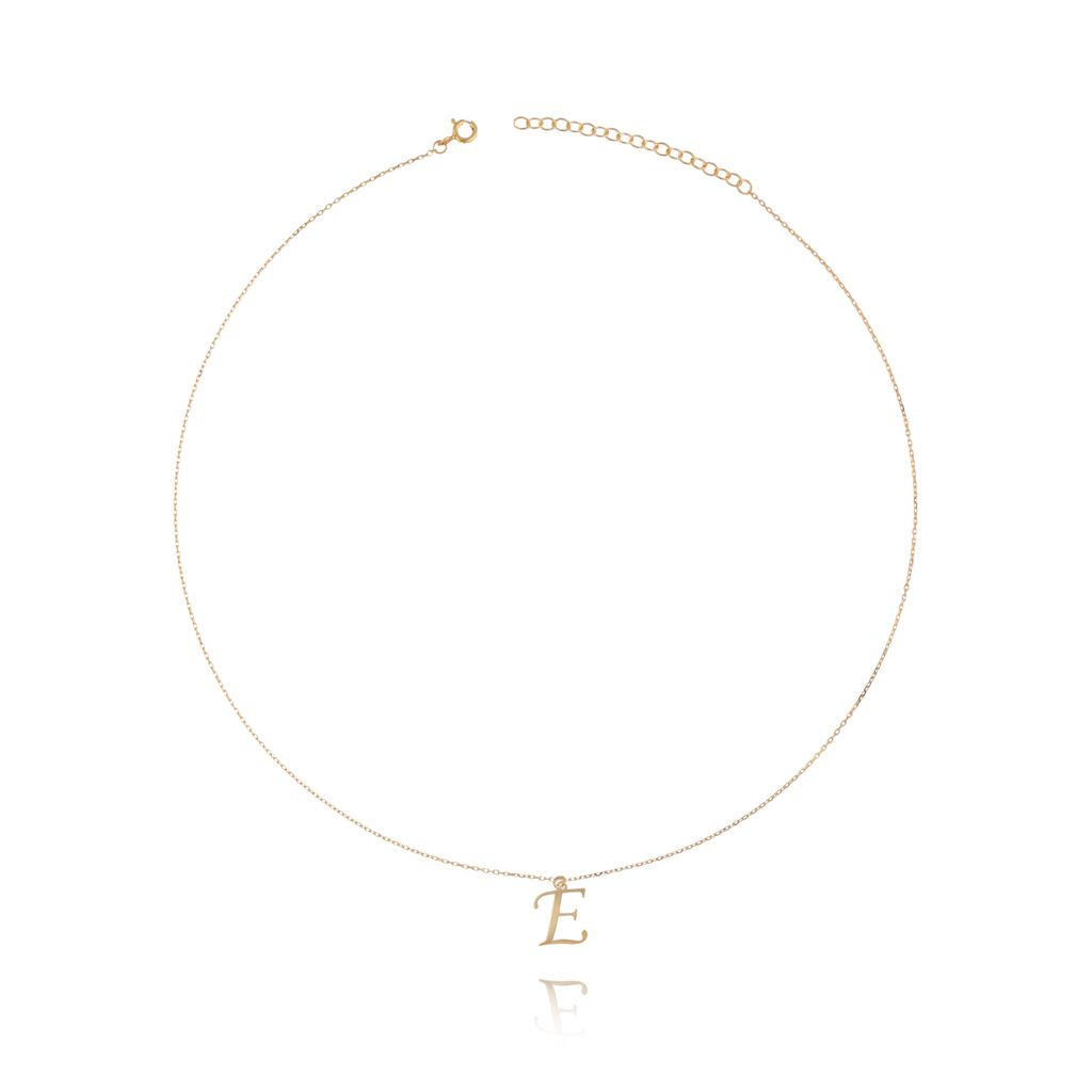 Naszyjnik srebrny pozłacany z literką E NAT0110