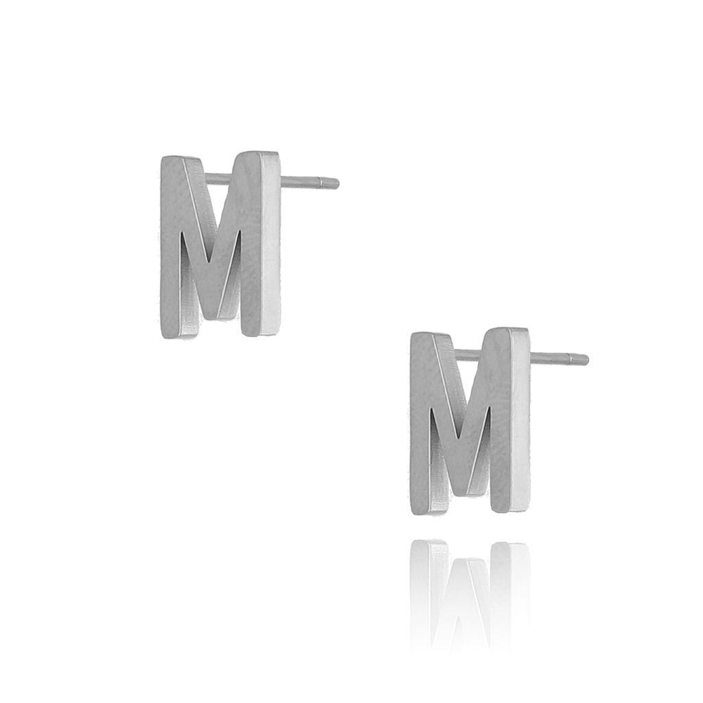 Kolczyki wkrętki srebrne z literką M KAT0053