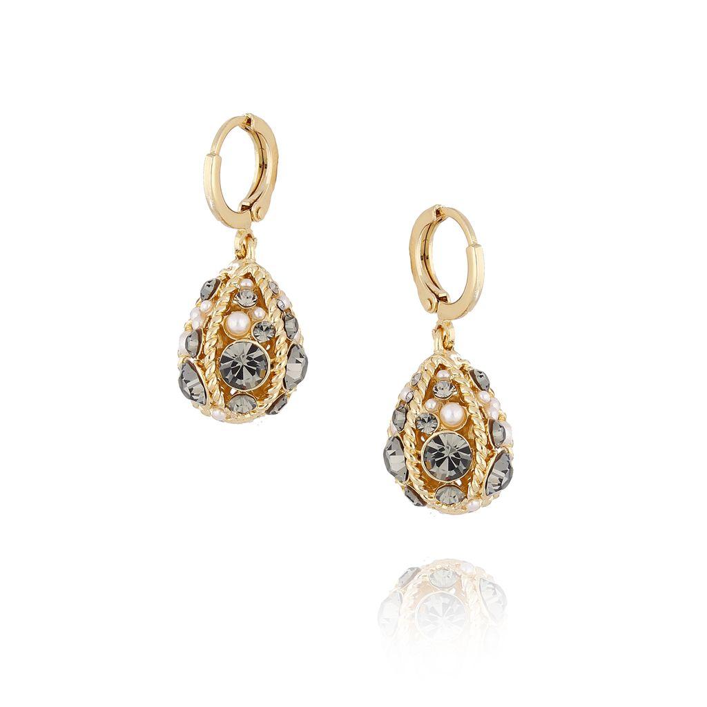 """Kolczyki złote """"jajka Faberge"""" z perłami KRG0500"""