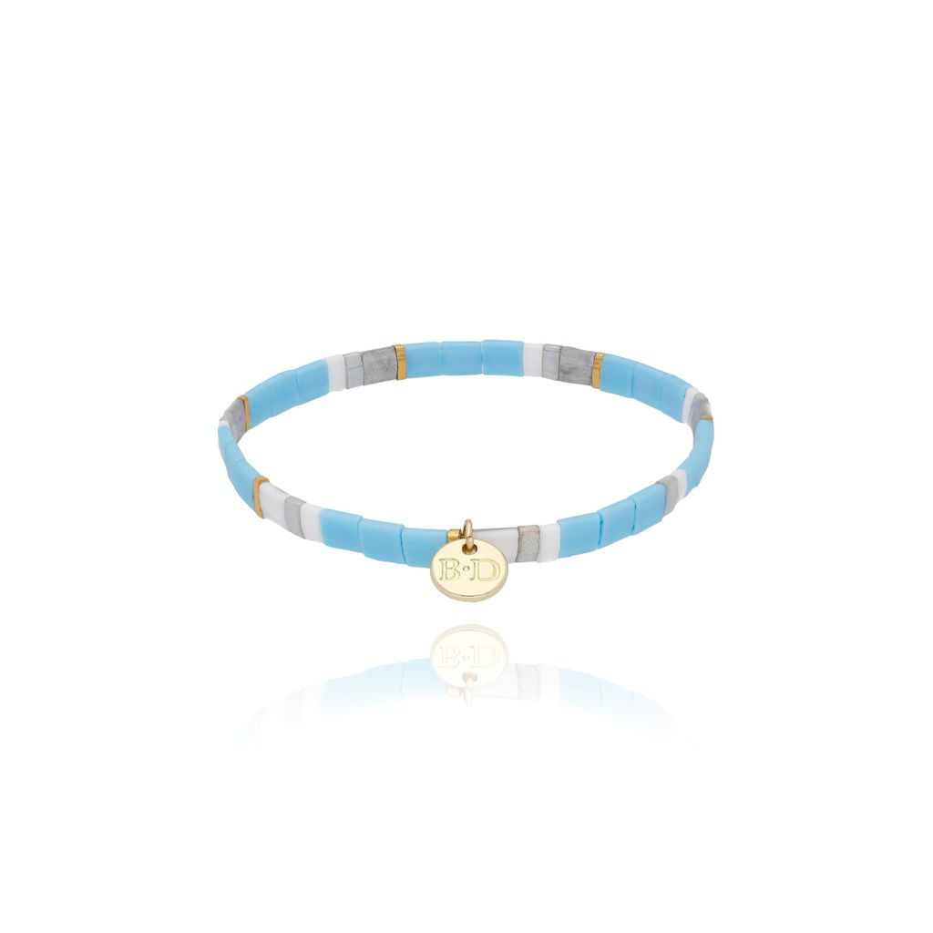 Bransoletka elastyczna niebiesko szara BLB0060