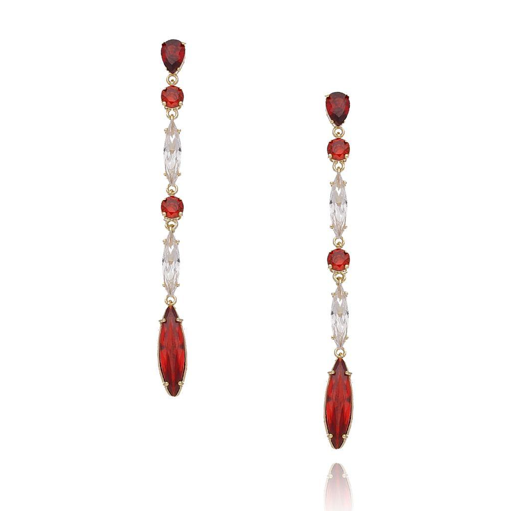 Kolczyki złote z czerwonymi i transparentnymi kryształkami KSS0817
