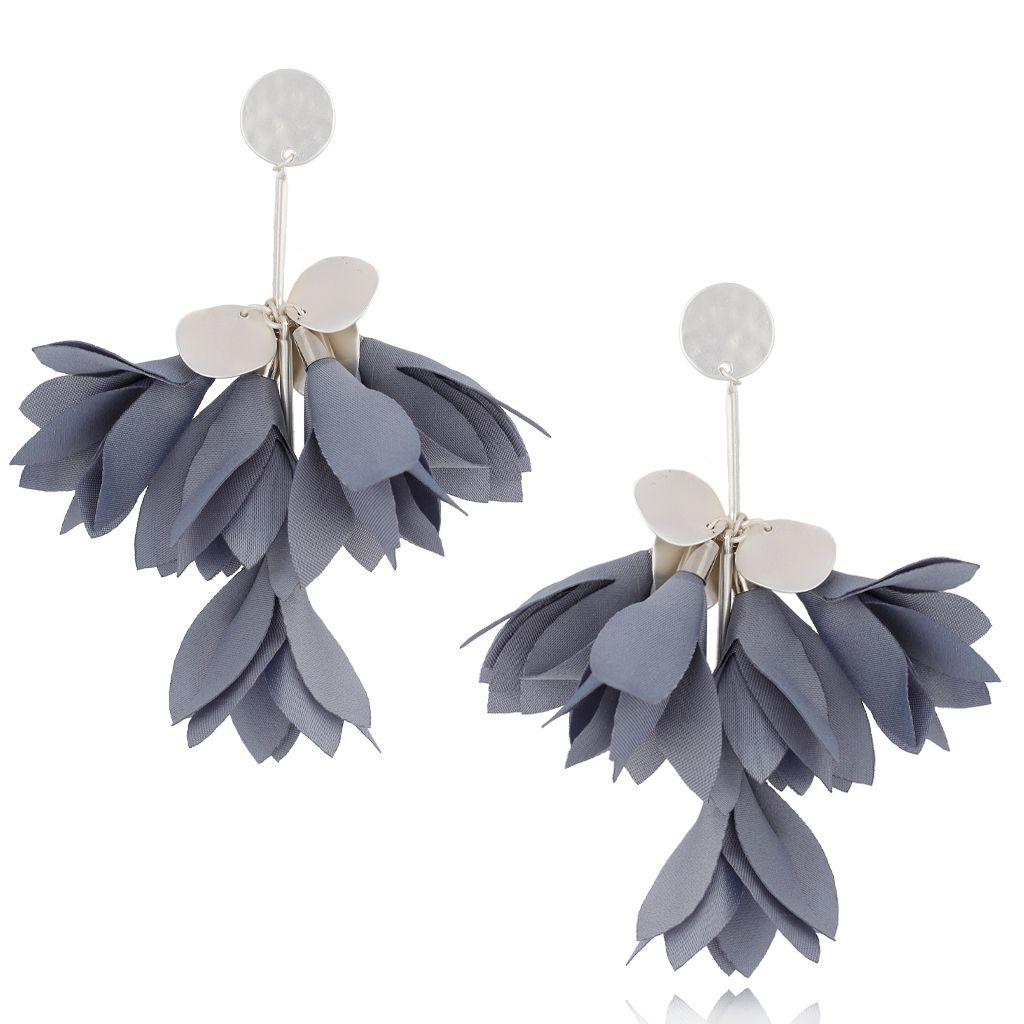 Kolczyki satynowe kwiaty szare KBL0463