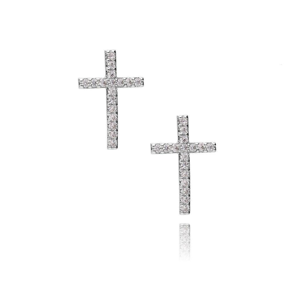 Kolczyki srebrne krzyżyki  z cyrkoniami KRG0210