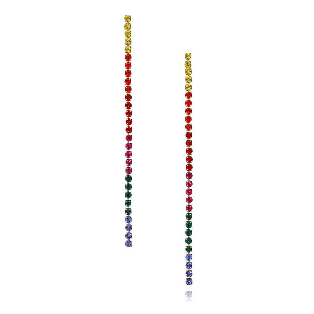 Kolczyki długie złote z kolorowymi cyrkoniami  KMU0006