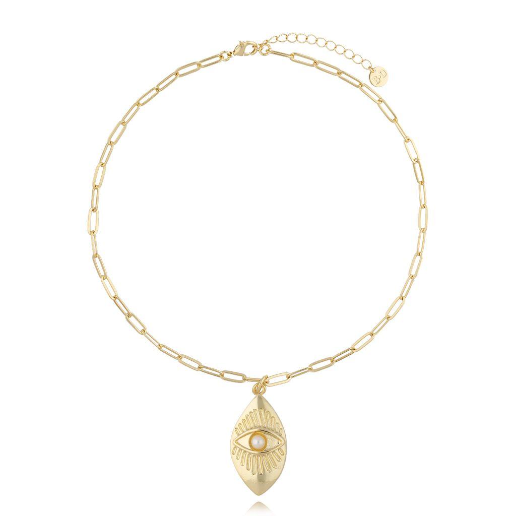 Naszyjnik złoty łańcuch z zawieszką oko  NRG0294