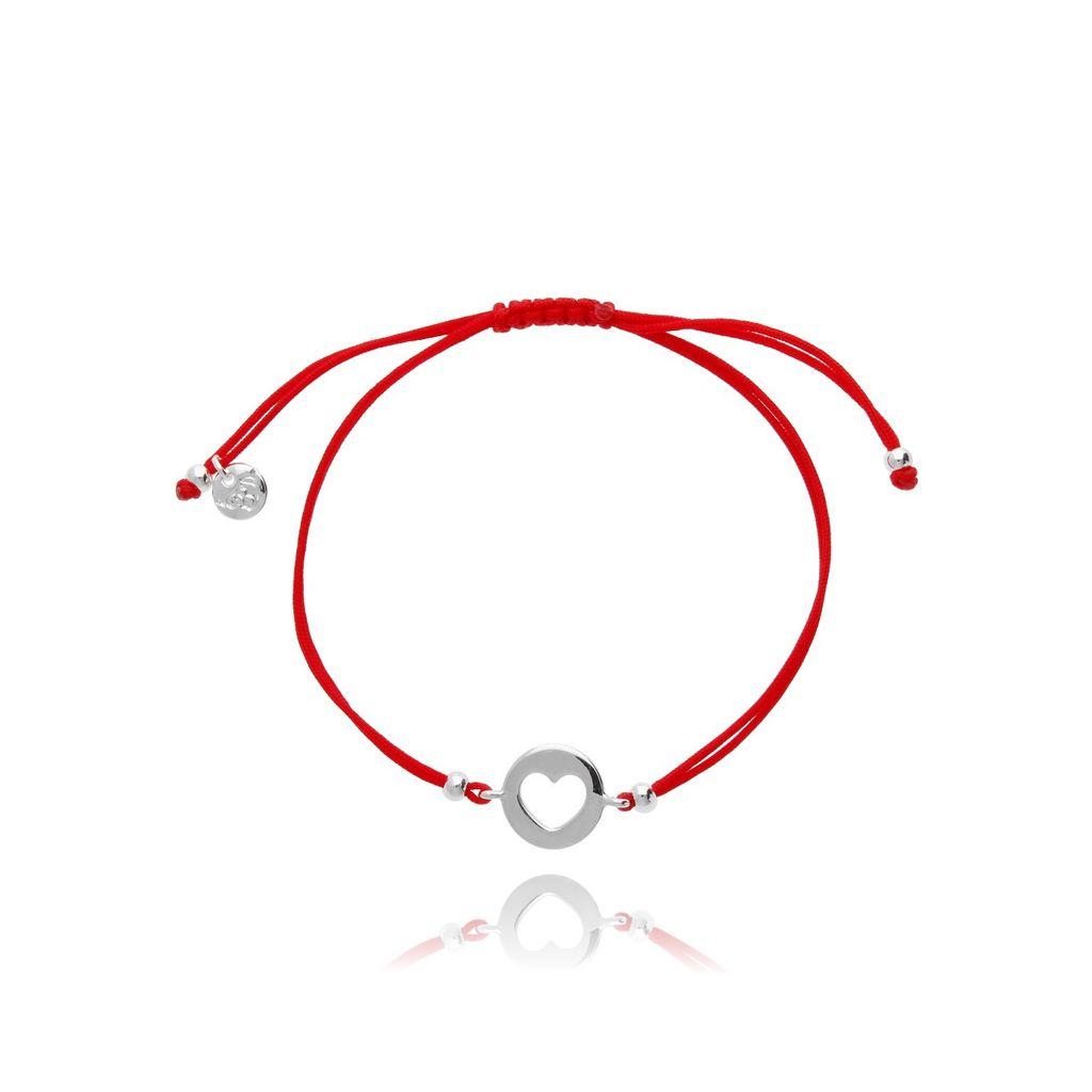 Bransoletka na czerwonym sznurku z sercem BGL0445