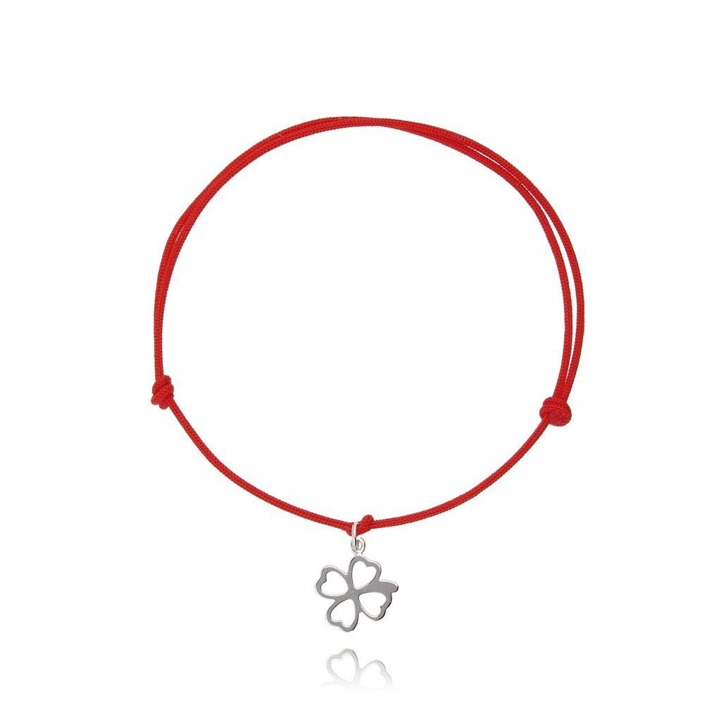 Bransoletka srebrna koniczynka na czerwonym sznurku BSE0055