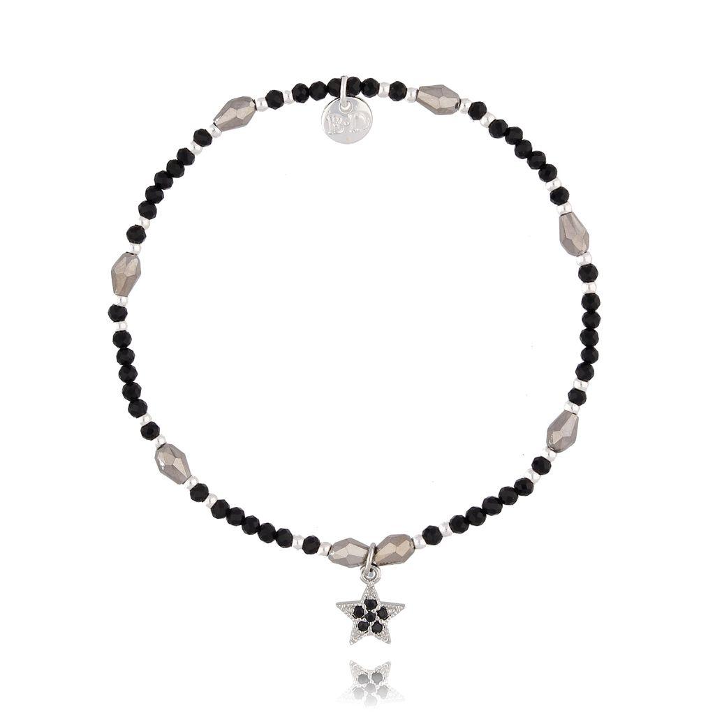 Bransoletka ze szklanych kryształków i czarnego onyksu z gwiazdką BSC0802