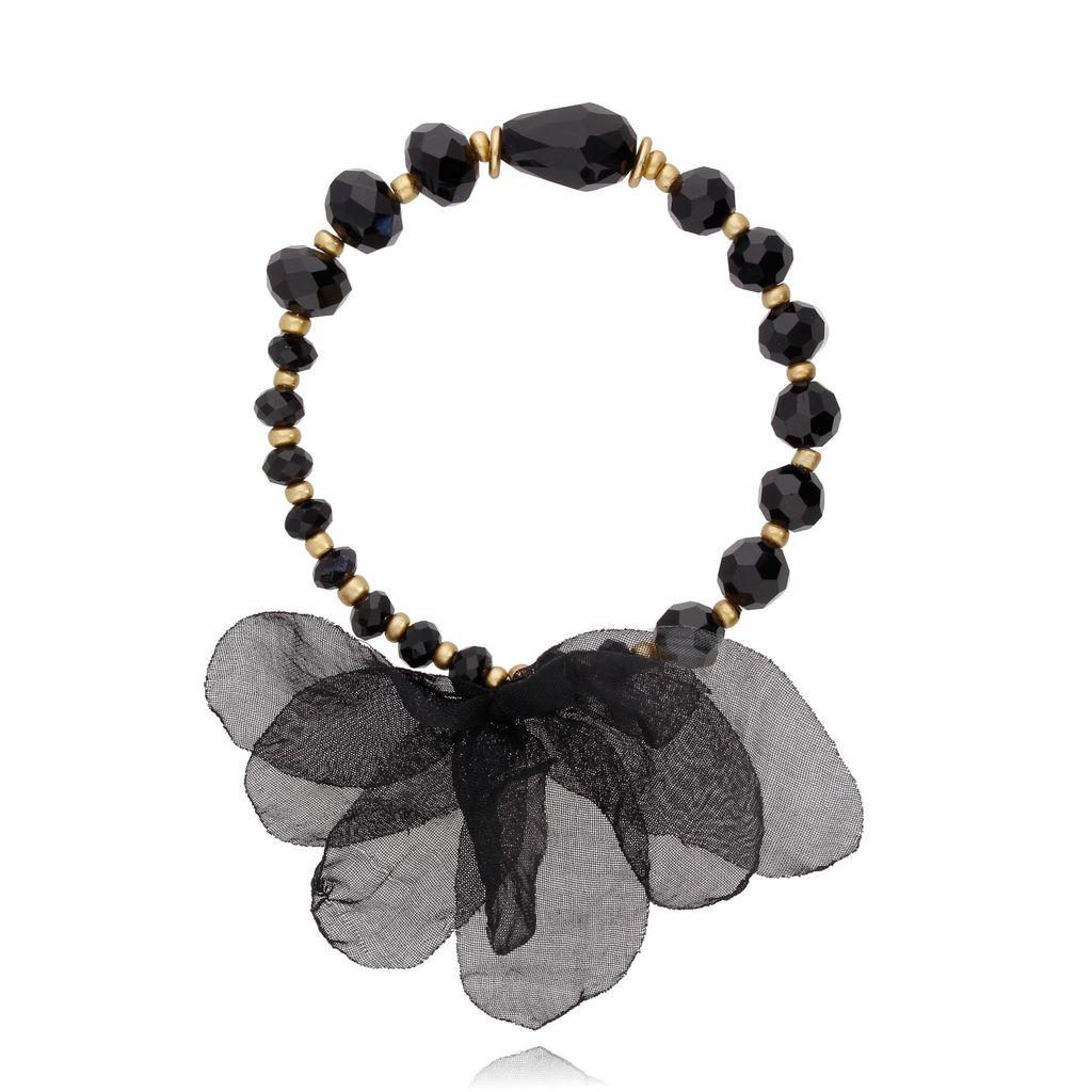 Bransoletka czarna z kryształków - jedwabny kwiat BBL0050