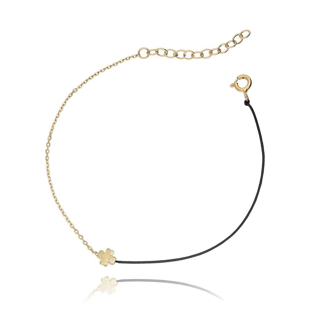 Bransoletka srebrna pozłacana z czarnym sznurkiem - koniczynka BSE0052