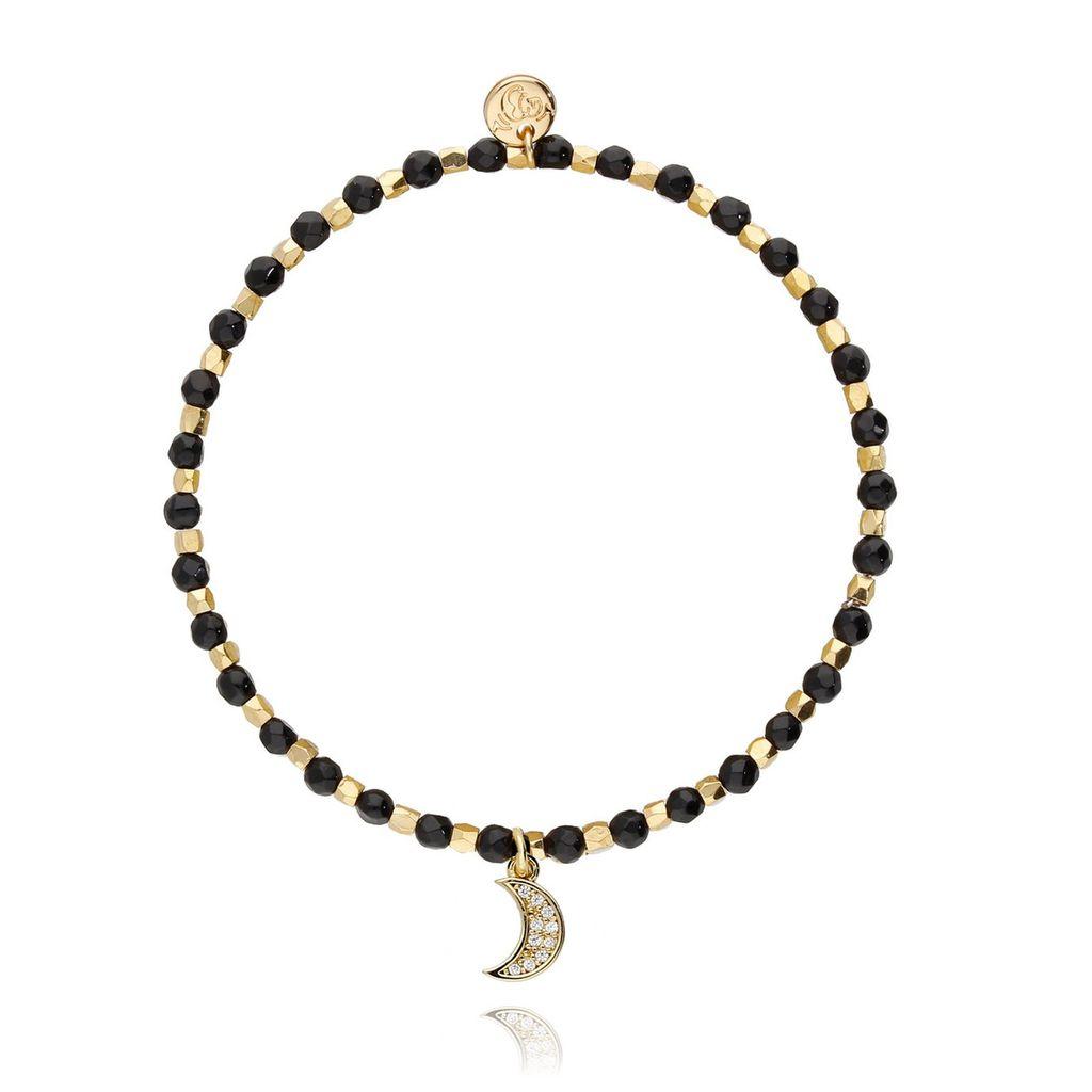Bransoletka z czarnym onyksem- złoty księżyc BSC0695