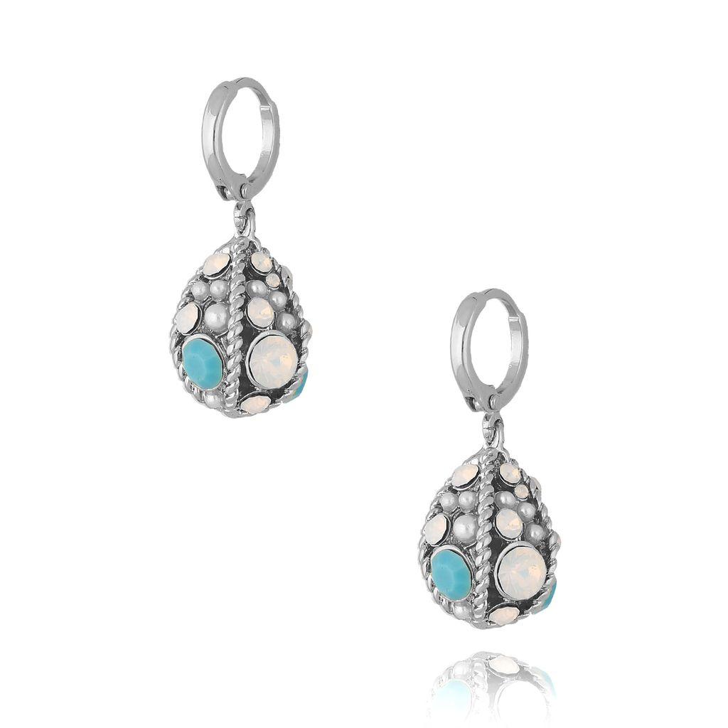 """Kolczyki srebrne """"jajka Faberge"""" z błękitnymi kryształkami KRG0619"""