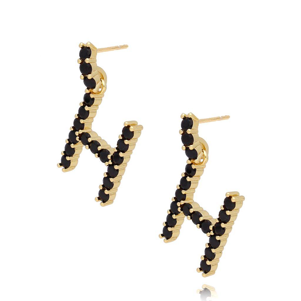 Kolczyki złote z kryształkami literka H KRG0597