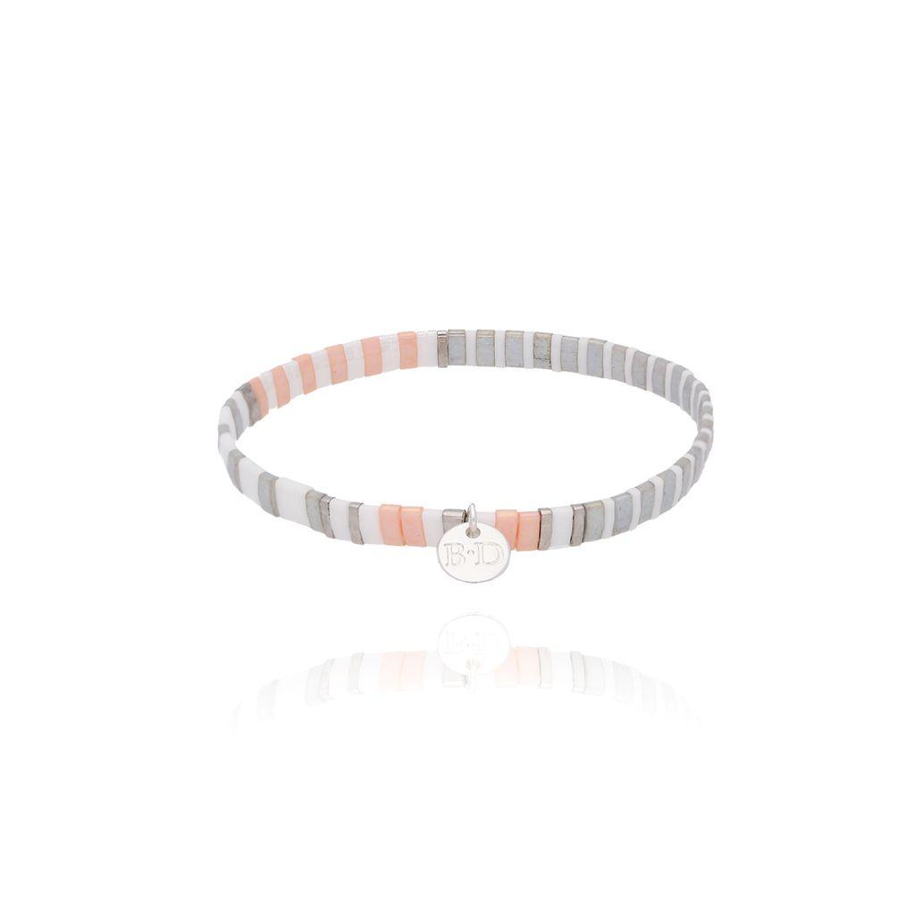 Bransoletka elastyczna szaro brzoskwiniowa BLB0067