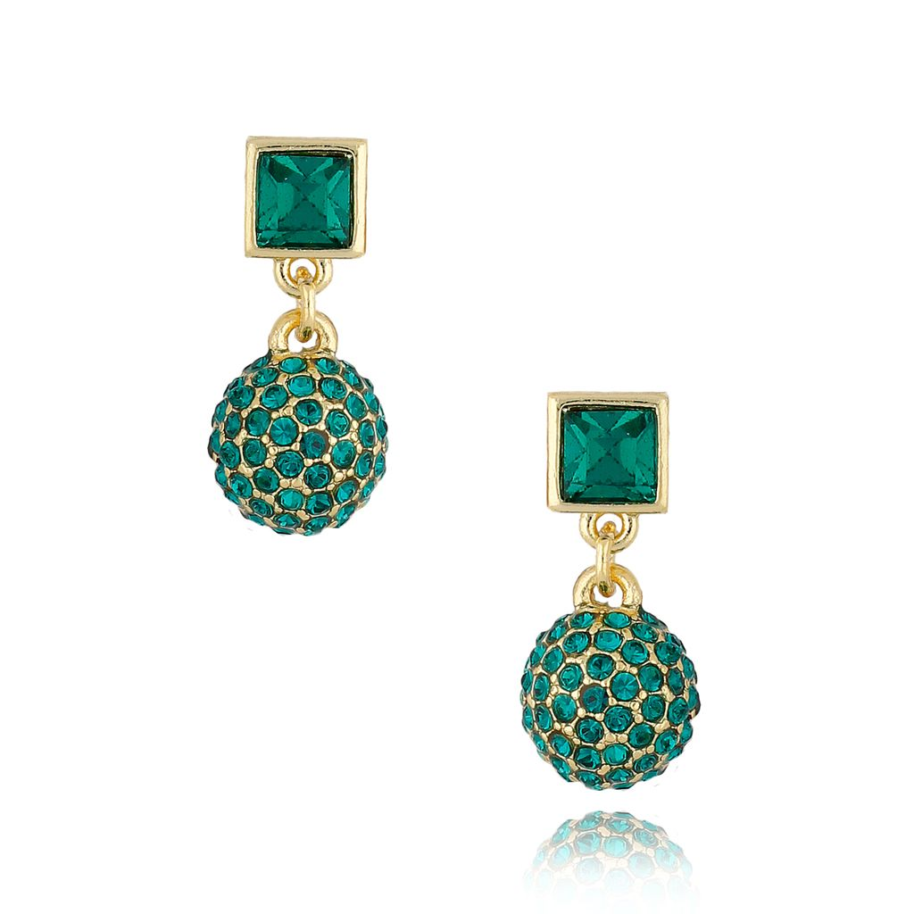 Kolczyki z kryształkami zielone KSS0849