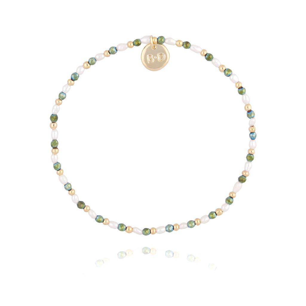 Bransoletka z zielonym hematytem i perłami BTW0209