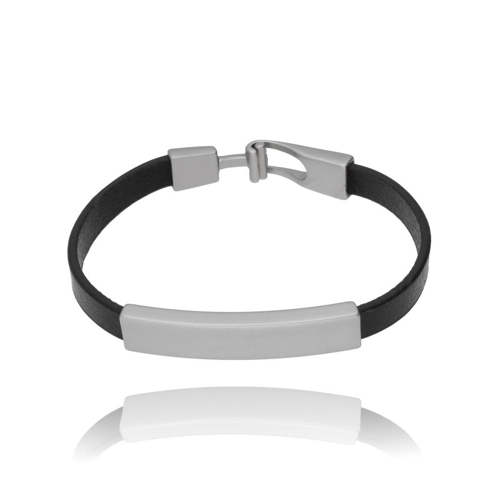 Bransoletka srebrna na skórzanym czarnym pasku BRG0082