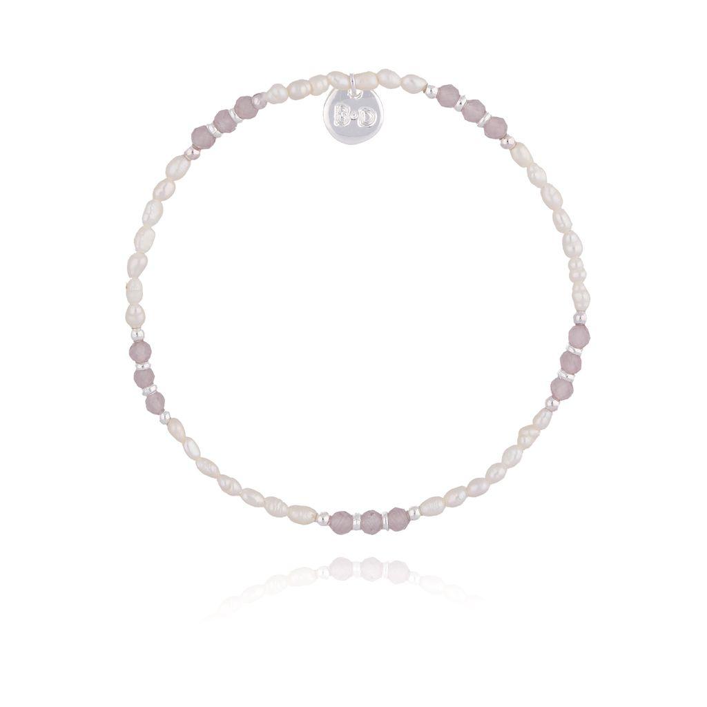 Bransoletka z perłami i ametystami BTW0204