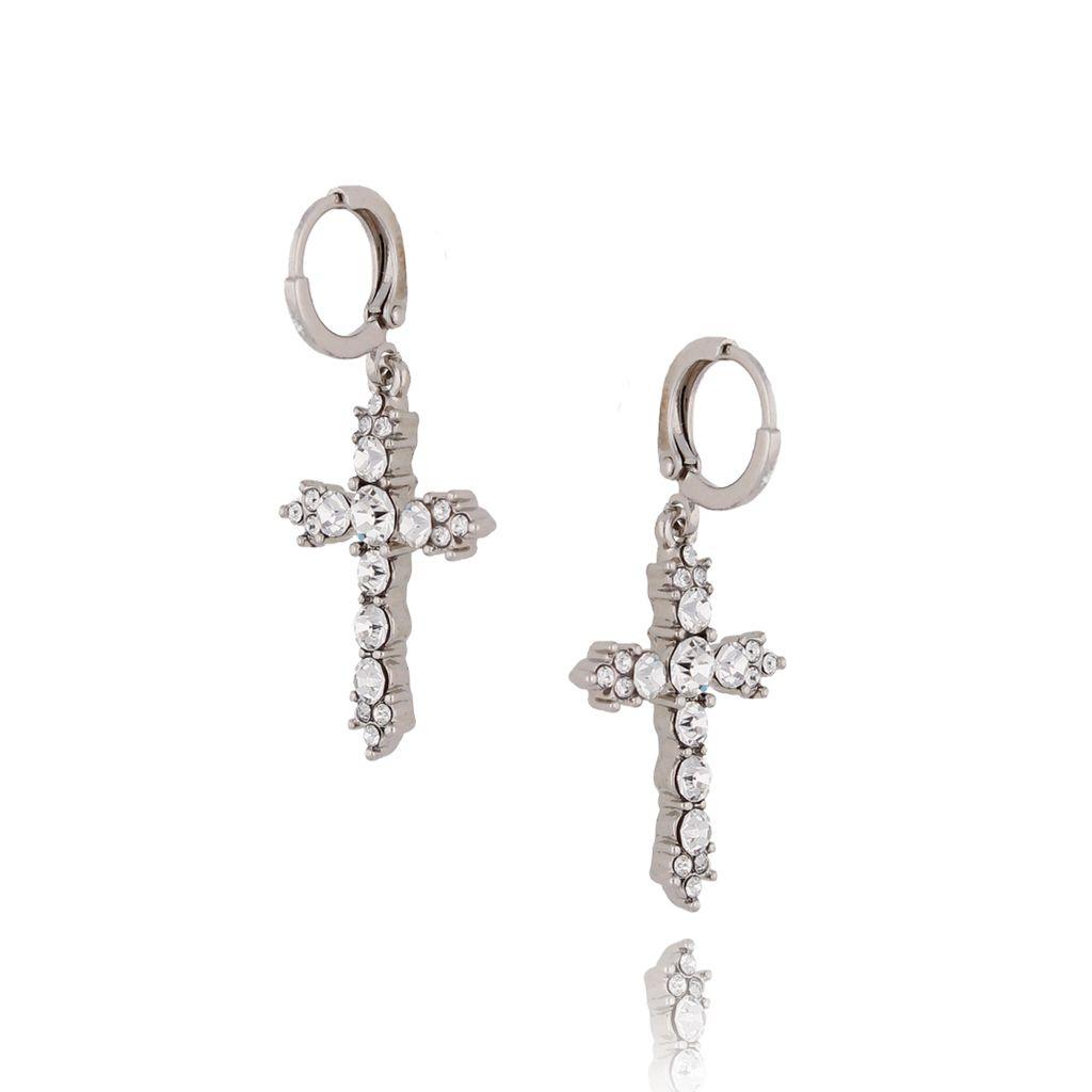 Kolczyki srebrne krzyże z transparentnymi kryształkami KRG0497