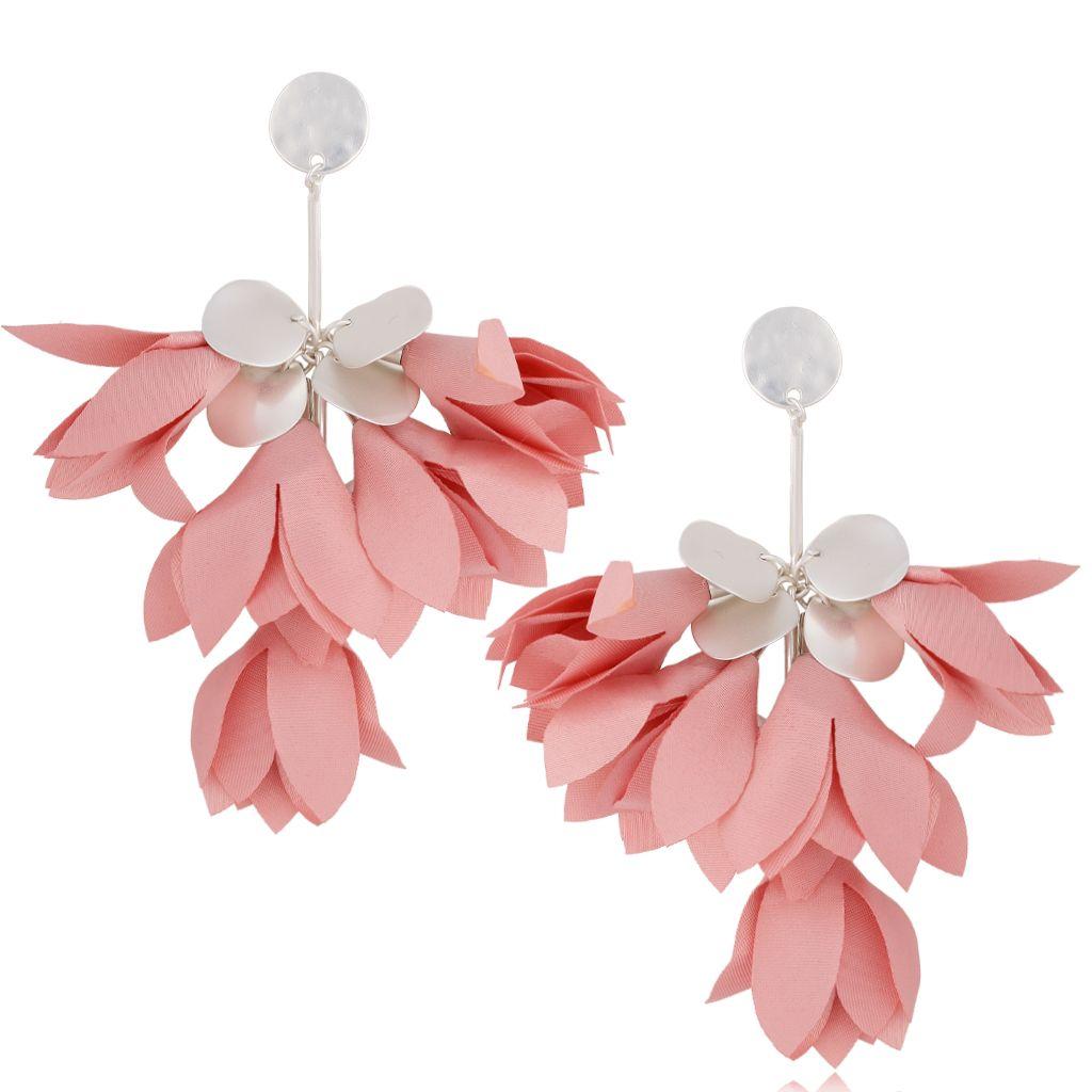 Kolczyki satynowe kwiaty różowe KBL0462