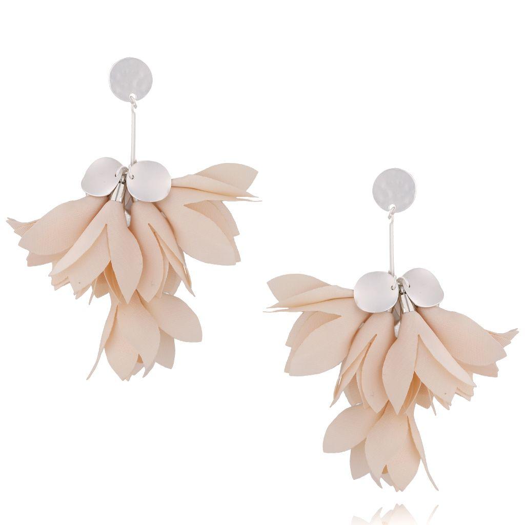Kolczyki satynowe kwiaty - kremowe Blossom KBL0408