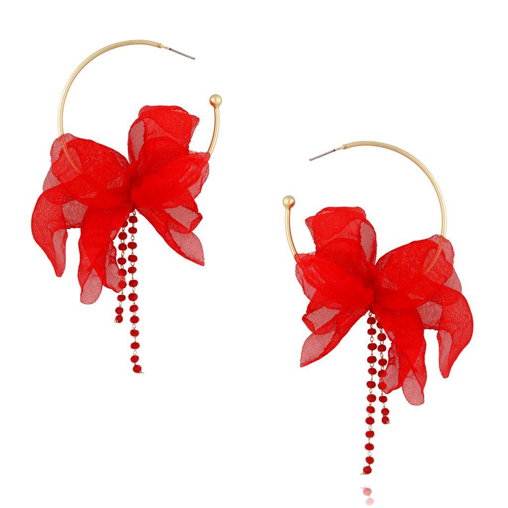 Kolczyki jedwabne kwiaty czerwone KBL0416