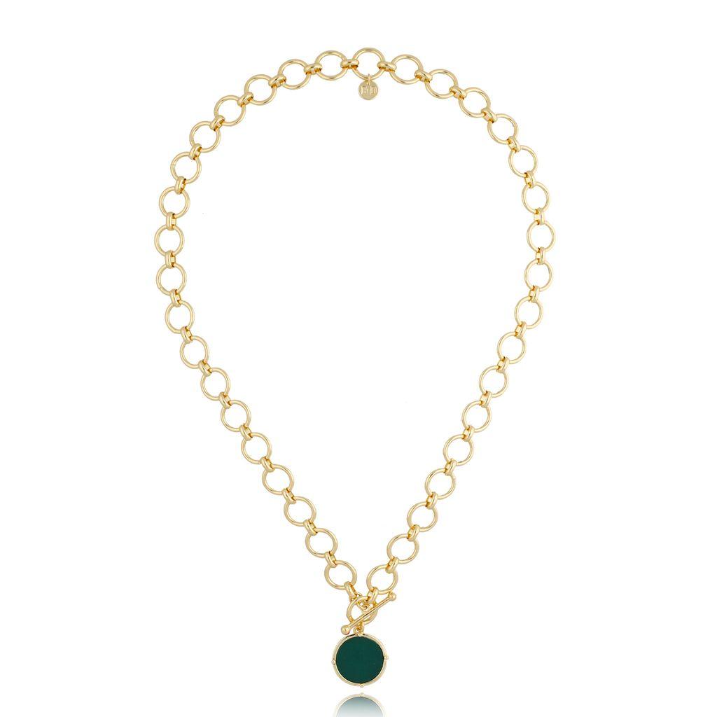 Naszyjnik złoty z zieloną zawieszką NTO0005