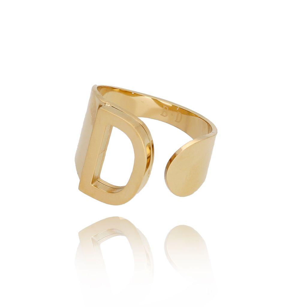 Pierścionek złoty ze stali szlachetnej z literką D PSA0086